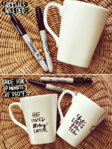 White mug with Sharpie writing